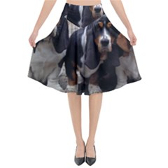 3 Basset Hound Puppies Flared Midi Skirt