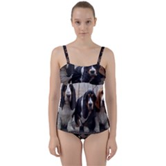 3 Basset Hound Puppies Twist Front Tankini Set