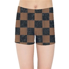 Square1 Black Marble & Brown Wood Kids Sports Shorts