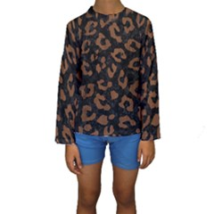 Skn5 Bk Mrbl Br Wood (r) Kids  Long Sleeve Swimwear