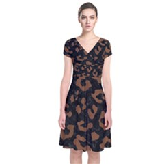 SKN5 BK-MRBL BR-WOOD (R) Short Sleeve Front Wrap Dress