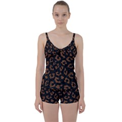 Skin5 Black Marble & Brown Wood (r) Tie Front Two Piece Tankini