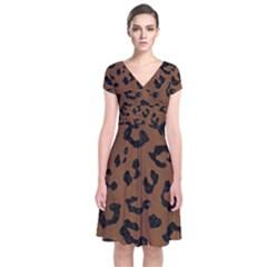 SKN5 BK-MRBL BR-WOOD Short Sleeve Front Wrap Dress