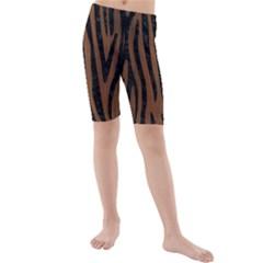 Skn4 Bk Mrbl Br Wood Kids  Mid Length Swim Shorts