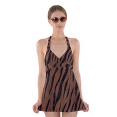 SKN3 BK-MRBL BR-WOOD (R) Halter Swimsuit Dress