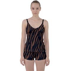 Skin3 Black Marble & Brown Wood Tie Front Two Piece Tankini