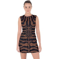 Skin2 Black Marble & Brown Wood Lace Up Front Bodycon Dress
