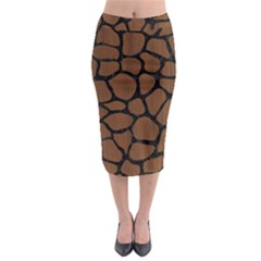 SKN1 BK-MRBL BR-WOOD Midi Pencil Skirt
