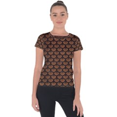 Scales3 Black Marble & Brown Wood (r) Short Sleeve Sports Top