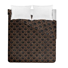 Scales2 Black Marble & Brown Wood Duvet Cover Double Side (full/ Double Size)