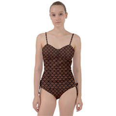 Scales1 Black Marble & Brown Wood (r) Sweetheart Tankini Set