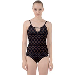 Scales1 Black Marble & Brown Wood Cut Out Top Tankini Set