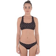 Scales1 Black Marble & Brown Wood Cross Back Hipster Bikini Set