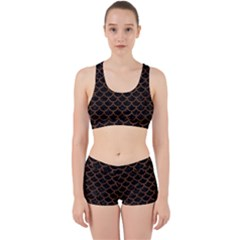 Scales1 Black Marble & Brown Wood Work It Out Sports Bra Set