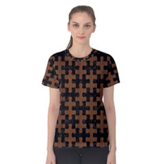 Puzzle1 Black Marble & Brown Wood Women s Cotton Tee