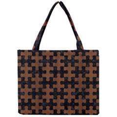 Puzzle1 Black Marble & Brown Wood Mini Tote Bag