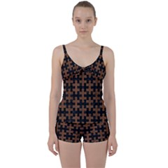Puzzle1 Black Marble & Brown Wood Tie Front Two Piece Tankini