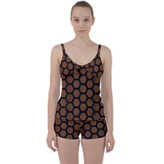 Hexagon2 Black Marble & Brown Wood (r) Tie Front Two Piece Tankini