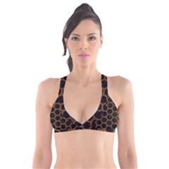 Hexagon2 Black Marble & Brown Wood Plunge Bikini Top