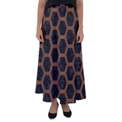 Hexagon2 Black Marble & Brown Wood Flared Maxi Skirt