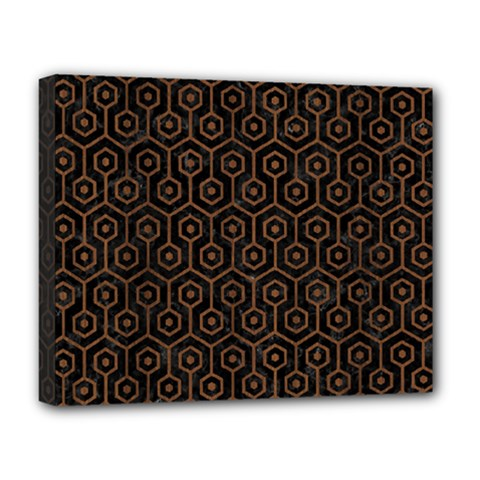 Hexagon1 Black Marble & Brown Wood Deluxe Canvas 20  X 16  (stretched)