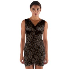 Hexagon1 Black Marble & Brown Wood Wrap Front Bodycon Dress