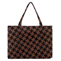 HTH2 BK-MRBL BR-WOOD Medium Zipper Tote Bag