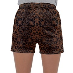 Damask2 Black Marble & Brown Wood (r) Women s Satin Sleepwear Sleeve Shorts