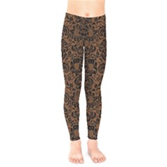 Damask2 Black Marble & Brown Wood (r) Kids  Legging