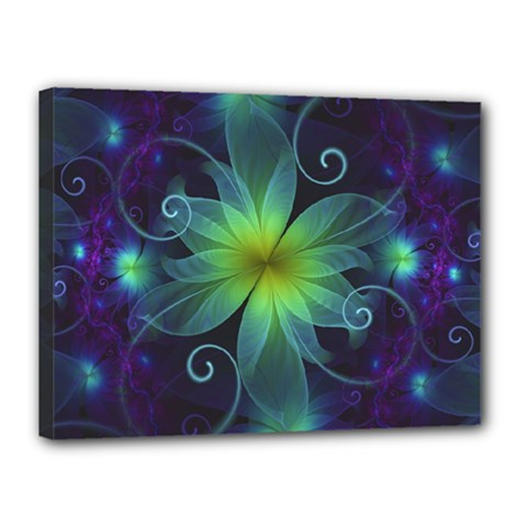 Blue and Green Fractal Flower of a Stargazer Lily Canvas 16  x 12