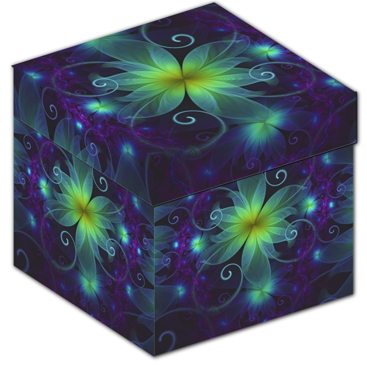 Blue and Green Fractal Flower of a Stargazer Lily Storage Stool 12