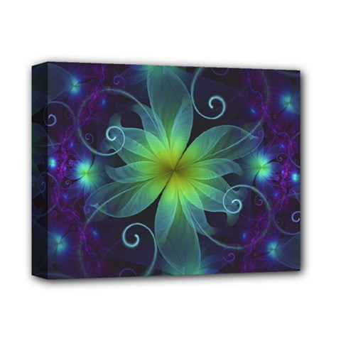 Blue and Green Fractal Flower of a Stargazer Lily Deluxe Canvas 14  x 11