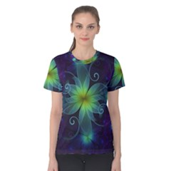 Blue And Green Fractal Flower Of A Stargazer Lily Women s Cotton Tee