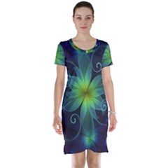 Blue and Green Fractal Flower of a Stargazer Lily Short Sleeve Nightdress