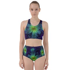 Blue And Green Fractal Flower Of A Stargazer Lily Bikini Swimsuit Spa Swimsuit