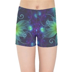 Blue And Green Fractal Flower Of A Stargazer Lily Kids Sports Shorts