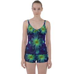 Blue And Green Fractal Flower Of A Stargazer Lily Tie Front Two Piece Tankini