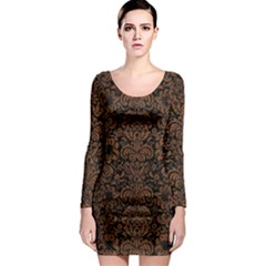 Dms2 Bk Mrbl Br Wood Long Sleeve Bodycon Dress