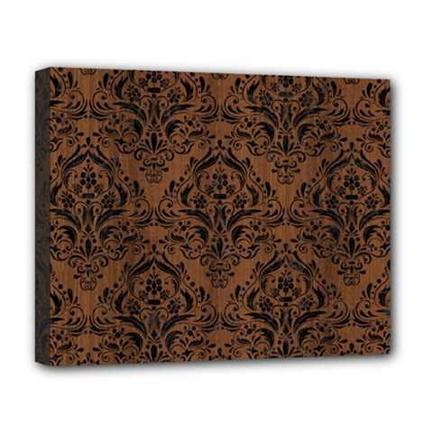 Damask1 Black Marble & Brown Wood (r) Deluxe Canvas 20  X 16  (stretched)