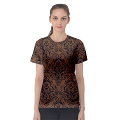 Damask1 Black Marble & Brown Wood (r) Women s Sport Mesh Tee
