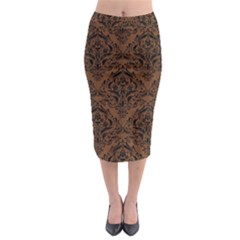 DMS1 BK-MRBL BR-WOOD (R) Midi Pencil Skirt