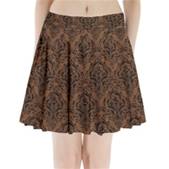 DMS1 BK-MRBL BR-WOOD (R) Pleated Mini Skirt