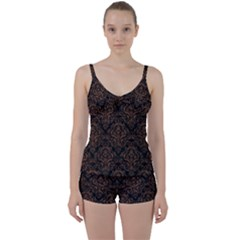 Damask1 Black Marble & Brown Wood Tie Front Two Piece Tankini