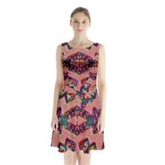 Pink mission Sleeveless Waist Tie Chiffon Dress