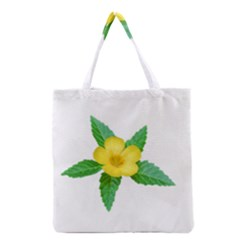 Yellow Flower With Leaves Photo Grocery Tote Bag