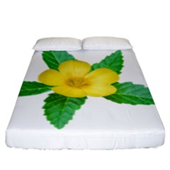 Yellow Flower With Leaves Photo Fitted Sheet (king Size)