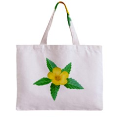 Yellow Flower With Leaves Photo Zipper Mini Tote Bag