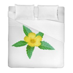 Yellow Flower With Leaves Photo Duvet Cover (full/ Double Size)