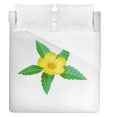 Yellow Flower With Leaves Photo Duvet Cover (Queen Size)