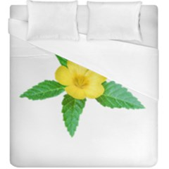 Yellow Flower With Leaves Photo Duvet Cover (King Size)